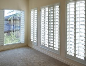 white wood plantation shutters