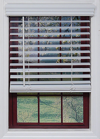Cordless White 2 Faux Wood Blinds